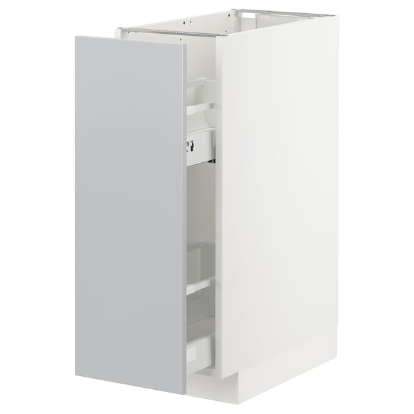 METOD Base cabinet/pull-out int fittings, white/Veddinge grey, 30x60 cm