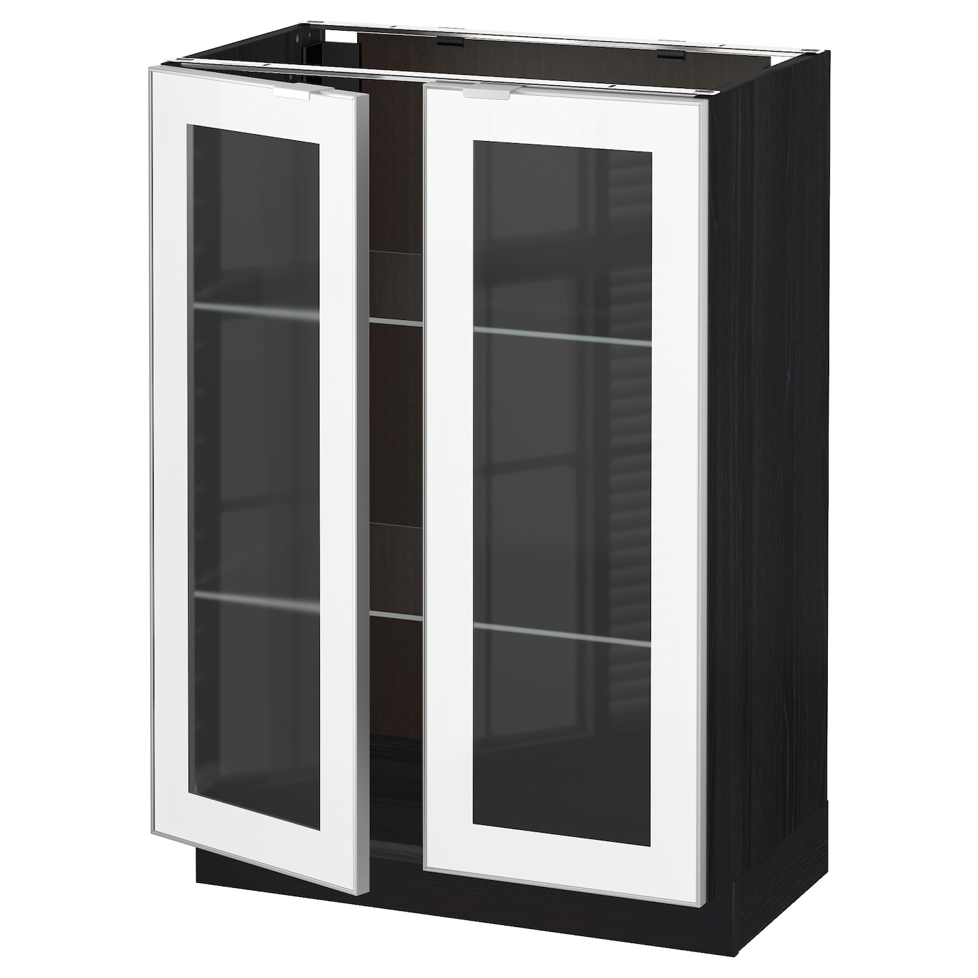 Metod base cabinet with 2 glass doors black jutis frosted for Black kitchen cabinets with glass doors