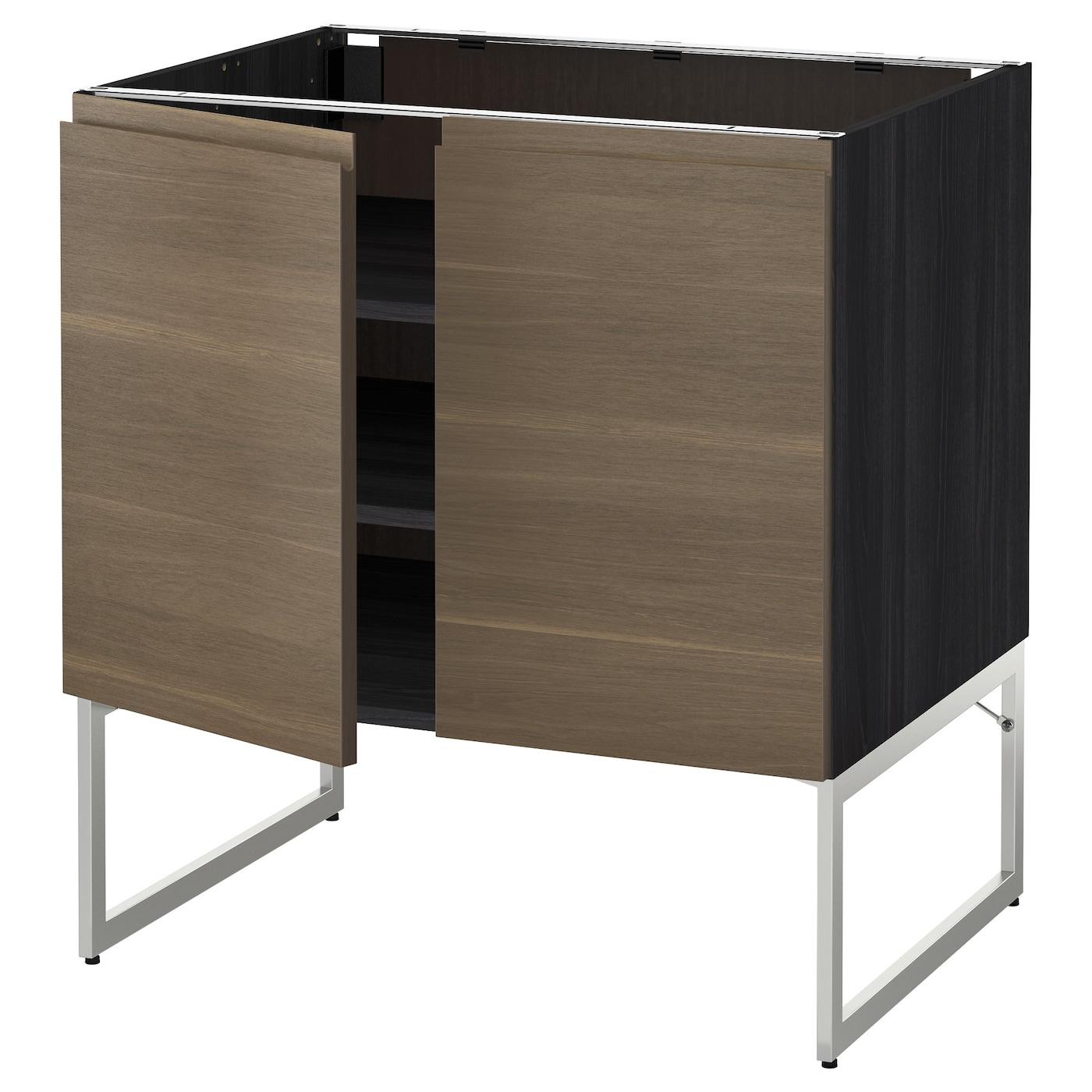 Metod base cabinet with shelves 2 doors black voxtorp for Black kitchen base cabinets
