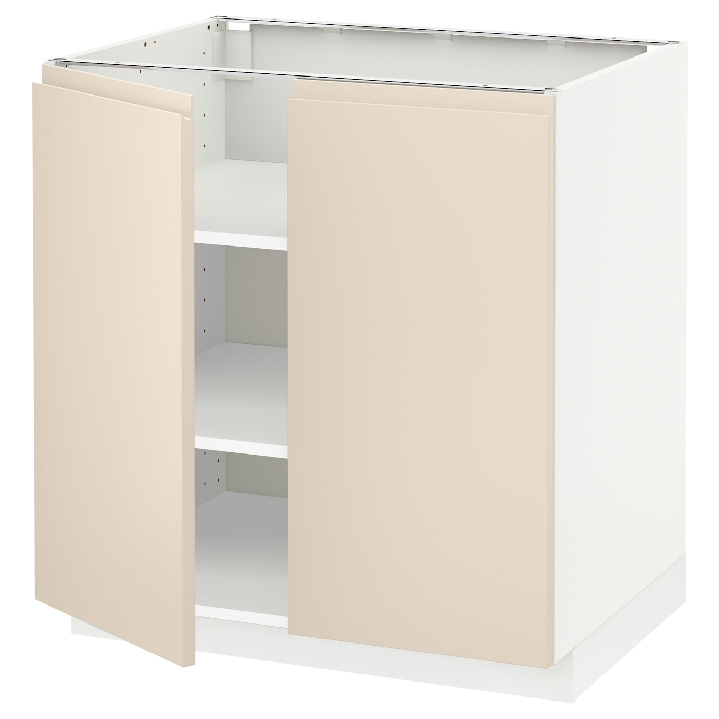 Metod base cabinet with shelves 2 doors white voxtorp for Off the shelf kitchen units
