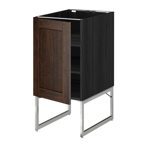 Metod base cabinet with shelves black edserum brown for Black kitchen base cabinets