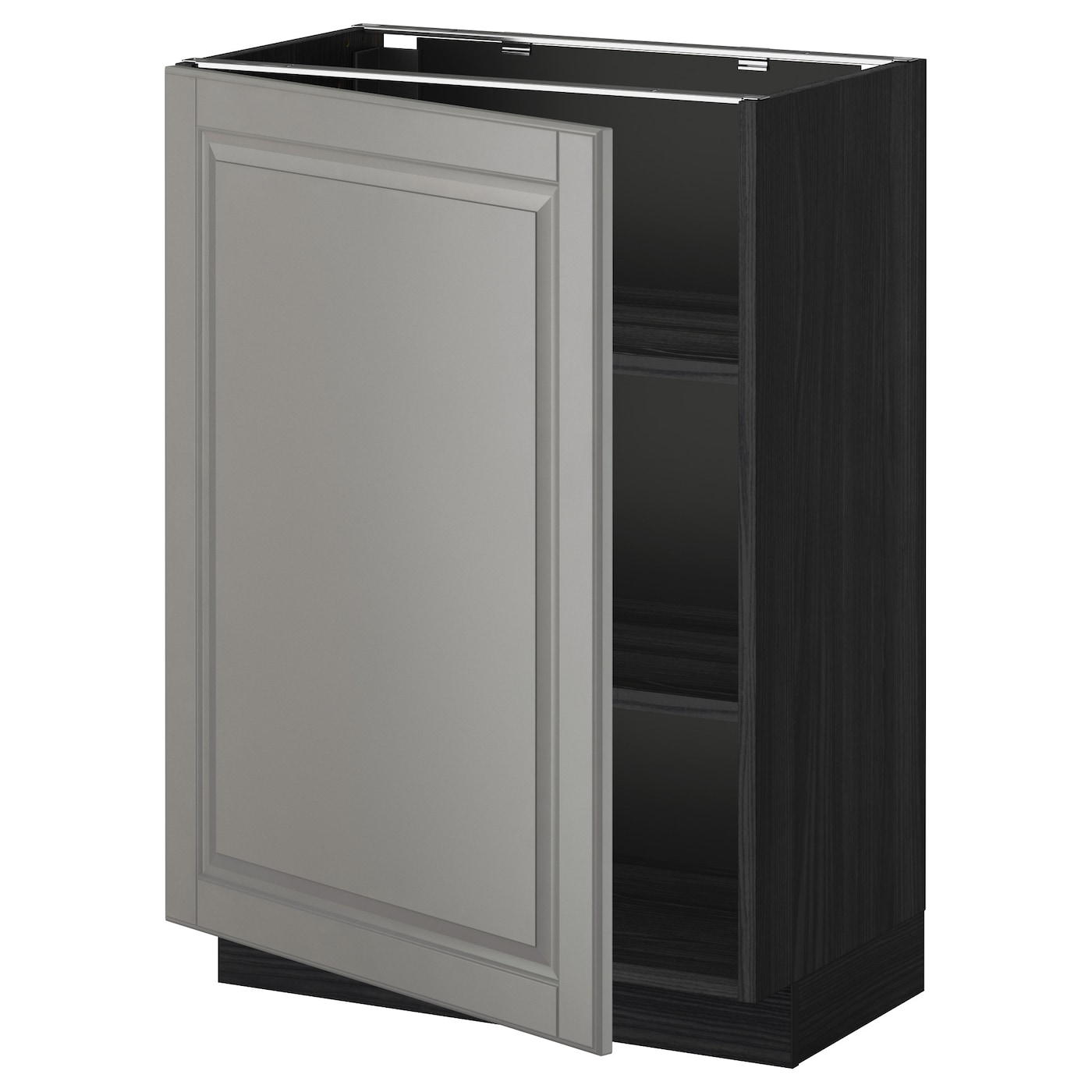Metod base cabinet with shelves black bodbyn grey 60x37 cm for Black kitchen base cabinets