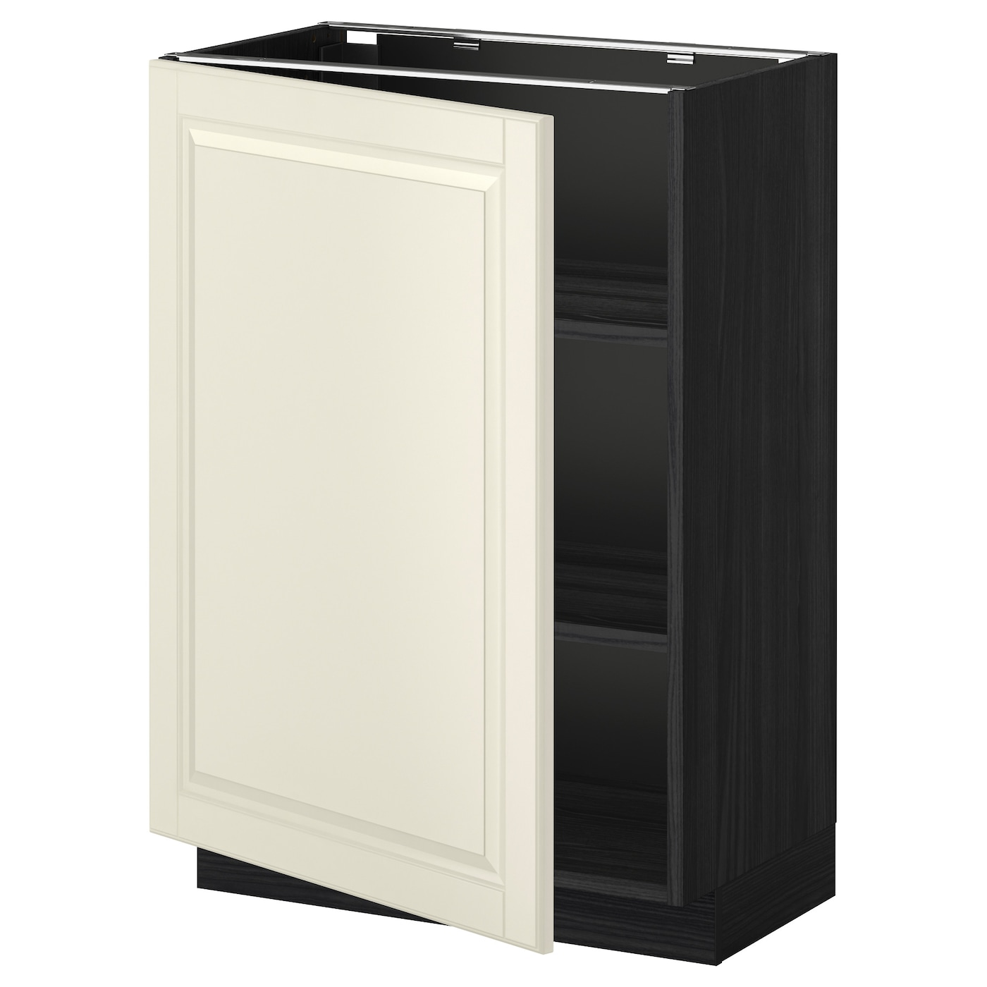 Metod base cabinet with shelves black bodbyn off white for Off the shelf cabinets