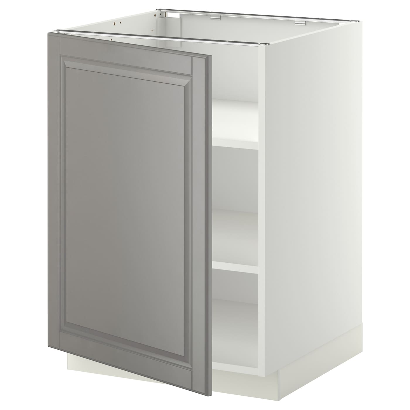 Metod Base Cabinet With Shelves White Bodbyn Grey 60x60 Cm Ikea