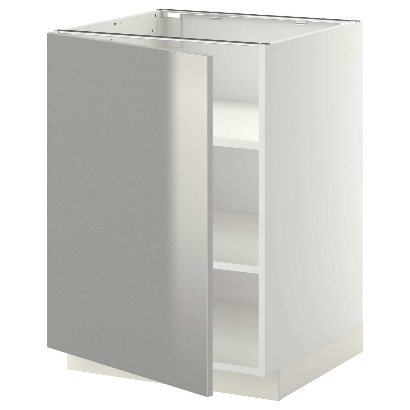 Stainless Steel Kitchen Base Cabinets: METOD Base Cabinet With Shelves White/grevsta Stainless