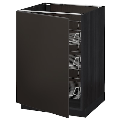 METOD Base cabinet with wire baskets, black/Kungsbacka anthracite, 60x60 cm