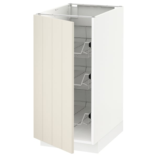 METOD Base cabinet with wire baskets, white/Hittarp off-white, 40x60 cm