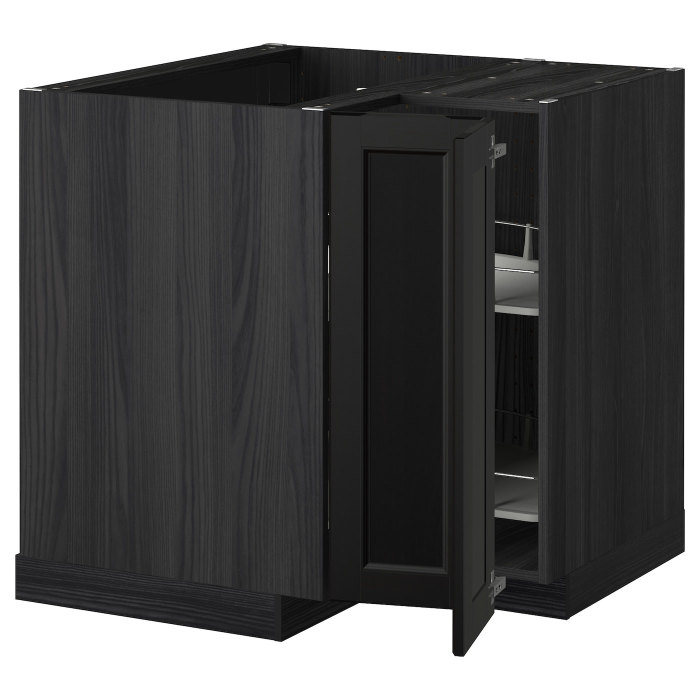 Metod corner base cabinet with carousel black laxarby black brown 88x88 cm ikea for Black corner bathroom cabinet