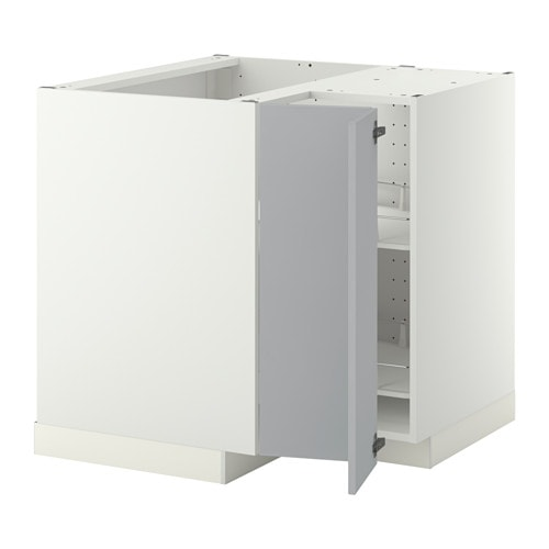 metod corner base cabinet with carousel white veddinge grey 88x88 cm ikea. Black Bedroom Furniture Sets. Home Design Ideas