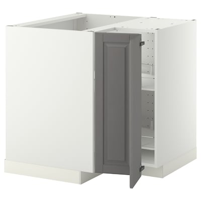METOD Corner base cabinet with carousel, white/Bodbyn grey, 88x88 cm