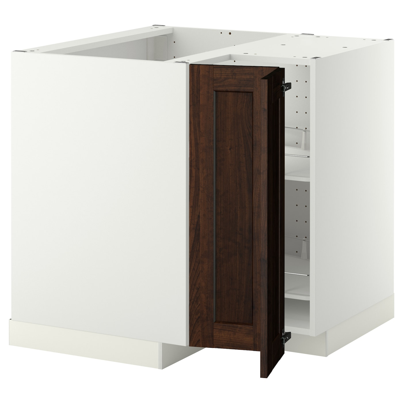 metod corner base cabinet with carousel white edserum brown 88x88 cm ikea. Black Bedroom Furniture Sets. Home Design Ideas