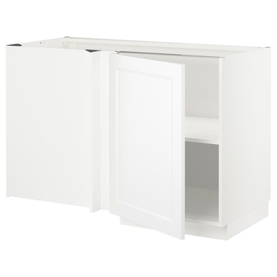 METOD Corner base cabinet with shelf, white/Axstad matt white, 128x68 cm