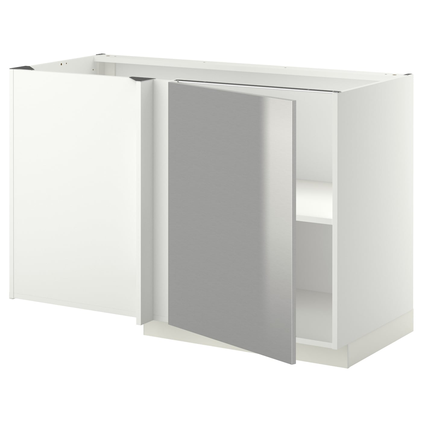 Metod corner base cabinet with shelf white grevsta for Stainless steel kitchen base cabinets