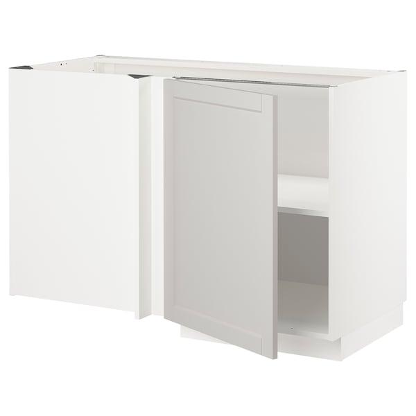 METOD Corner base cabinet with shelf, white/Lerhyttan light grey, 128x68 cm