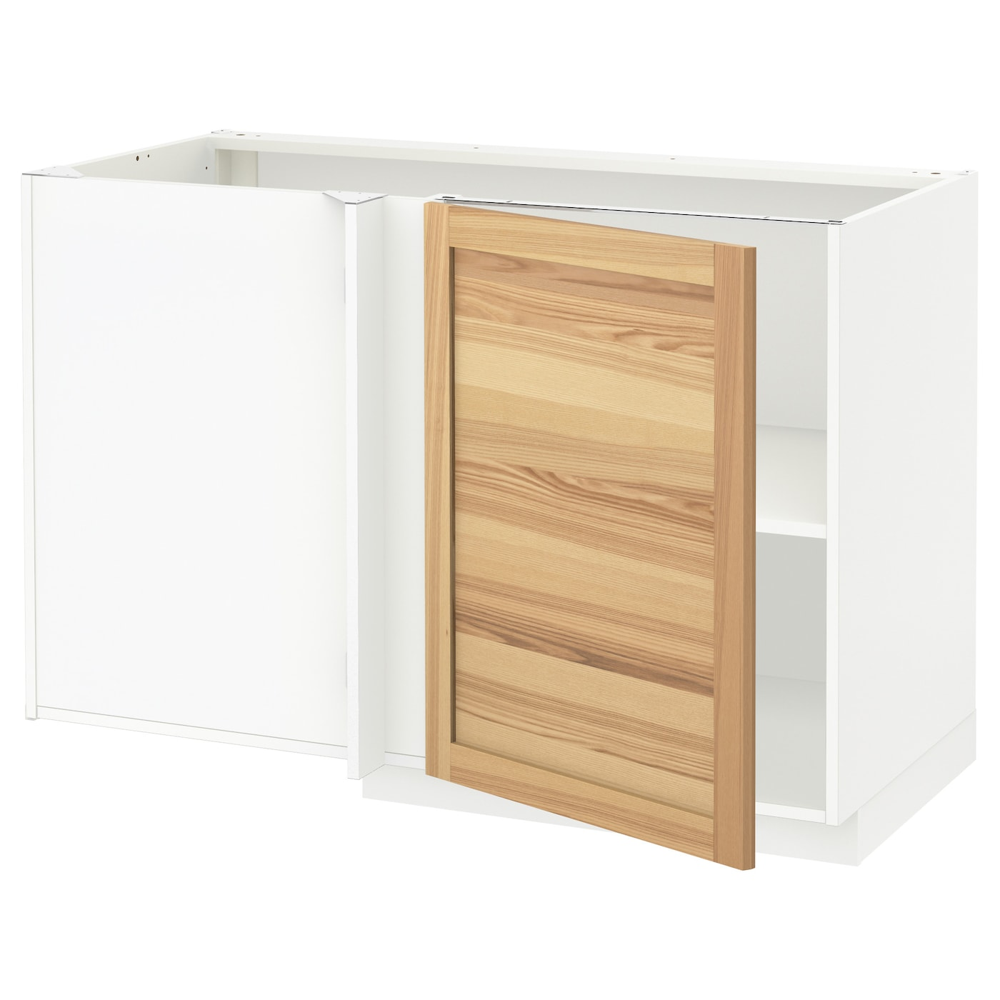 Metod Corner Base Cabinet With Shelf White Torhamn Ash 128x68 Cm Ikea