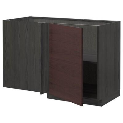 METOD corner base cabinet with shelf black Askersund/dark brown ash effect 127.5 cm 67.5 cm 88.0 cm 80.0 cm