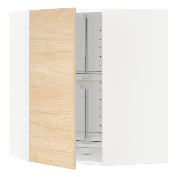 METOD corner wall cabinet with carousel white/Askersund light ash effect 67.5 cm 67.5 cm 80.0 cm