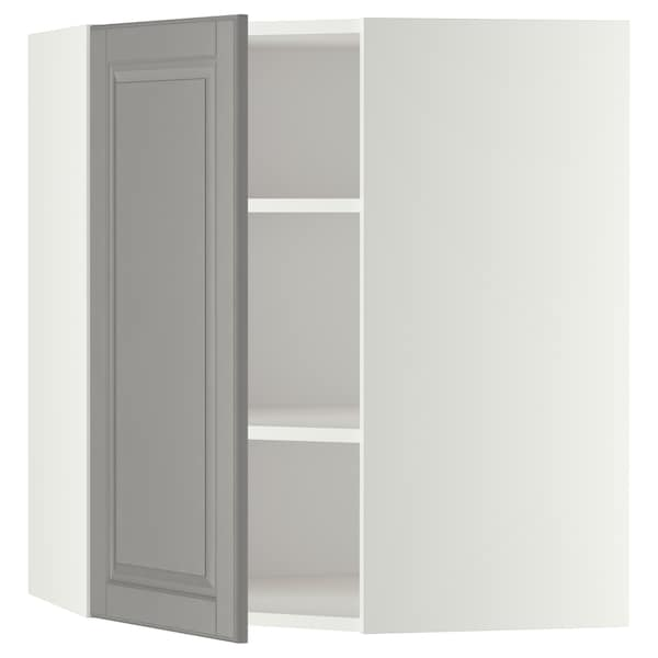 METOD Corner wall cabinet with shelves, white/Bodbyn grey, 68x80 cm
