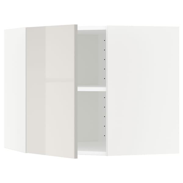 METOD Corner wall cabinet with shelves, white/Ringhult light grey, 68x60 cm