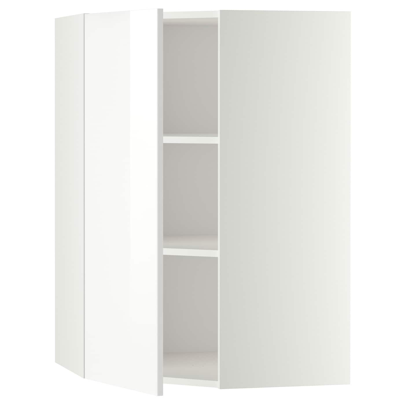 METOD Corner wall cabinet with shelves White/ringhult white 68x100 ...
