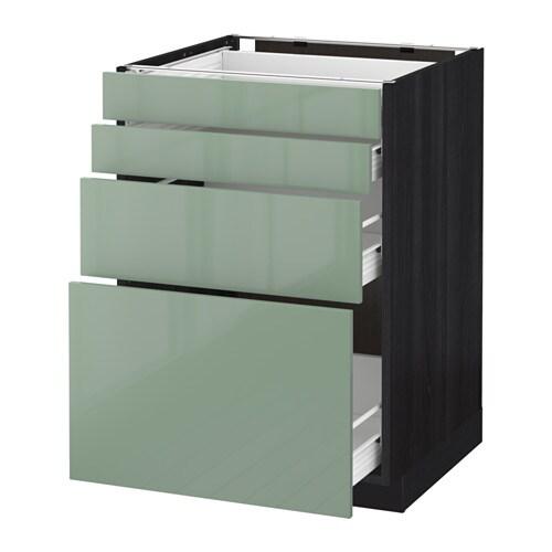 metod f rvara base cab 4 frnts 4 drawers black kallarp light green 60x60 cm ikea. Black Bedroom Furniture Sets. Home Design Ideas