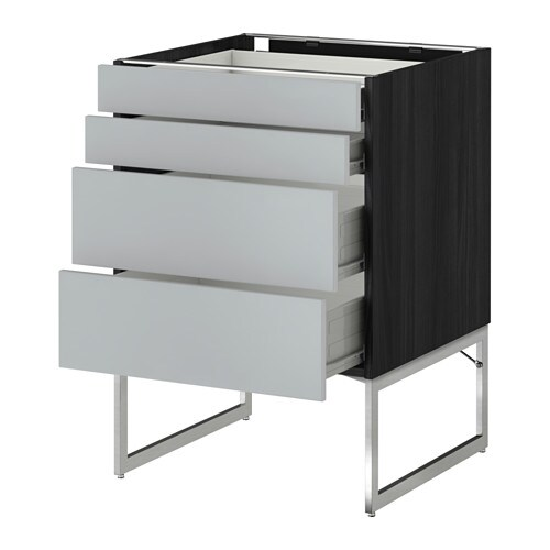 IKEA METOD/FÖRVARA base cab 4 fronts/2 low/2 md drwrs Sturdy frame construction, 18 mm thick.