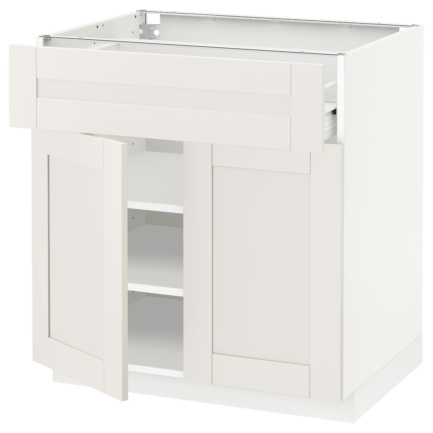 IKEA METOD/FÖRVARA base cabinet with drawer/2 doors Sturdy frame construction, 18 mm thick.