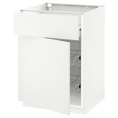 METOD / FÖRVARA base cab w wire basket/drawer/door white/Häggeby white 60.0 cm 61.6 cm 88.0 cm 60.0 cm 80.0 cm
