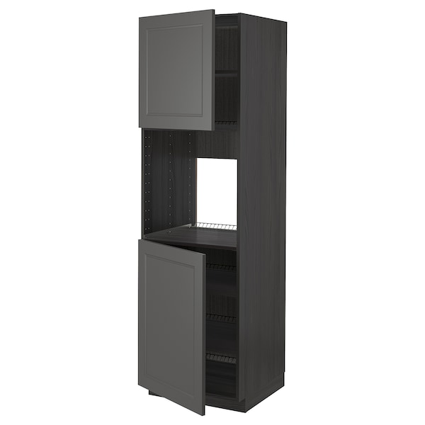 METOD High cab f oven w 2 doors/shelves, black/Axstad dark grey, 60x60x200 cm