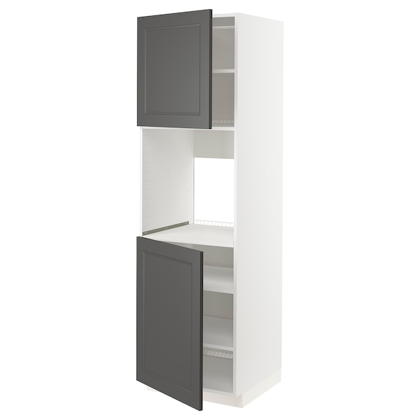 METOD High cab f oven w 2 doors/shelves, white/Axstad dark grey, 60x60x220 cm
