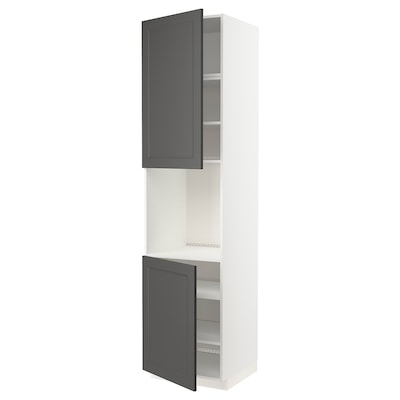METOD High cab f oven w 2 doors/shelves, white/Axstad dark grey, 60x60x240 cm