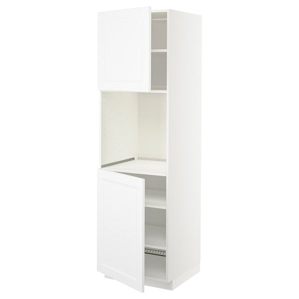 METOD High cab f oven w 2 doors/shelves, white/Axstad matt white, 60x60x200 cm
