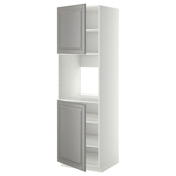 METOD High cab f oven w 2 doors/shelves, white/Bodbyn grey, 60x60x200 cm