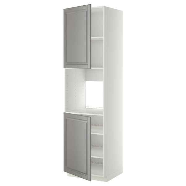 METOD High cab f oven w 2 doors/shelves, white/Bodbyn grey, 60x60x220 cm