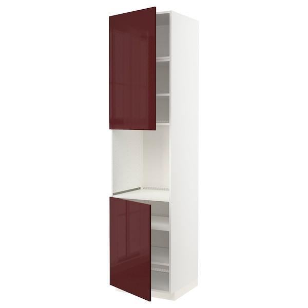 METOD High cab f oven w 2 doors/shelves, white Kallarp/high-gloss dark red-brown, 60x60x240 cm