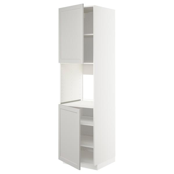 METOD High cab f oven w 2 doors/shelves, white/Lerhyttan light grey, 60x60x220 cm