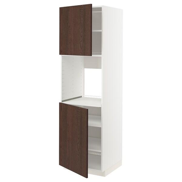 METOD High cab f oven w 2 doors/shelves, white/Sinarp brown, 60x60x200 cm
