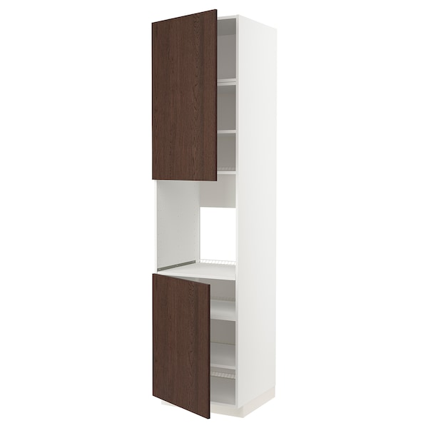METOD High cab f oven w 2 doors/shelves, white/Sinarp brown, 60x60x240 cm