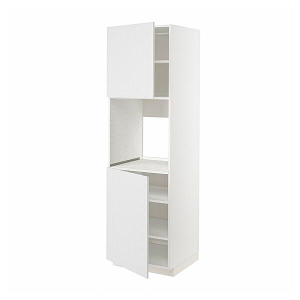 METOD High cab f oven w 2 doors/shelves, white/Stensund white, 60x60x200 cm