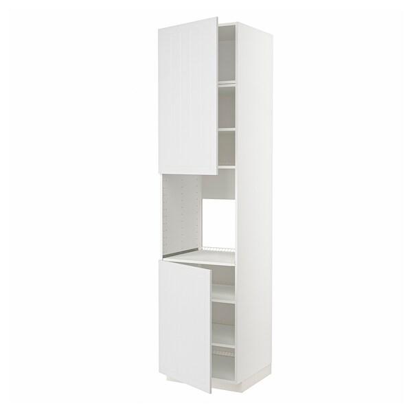 METOD High cab f oven w 2 doors/shelves, white/Stensund white, 60x60x240 cm