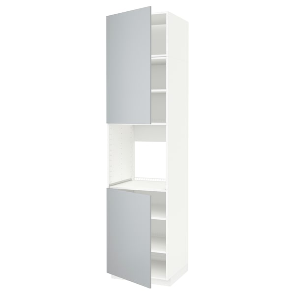 METOD High cab f oven w 2 doors/shelves, white/Veddinge grey, 60x60x240 cm