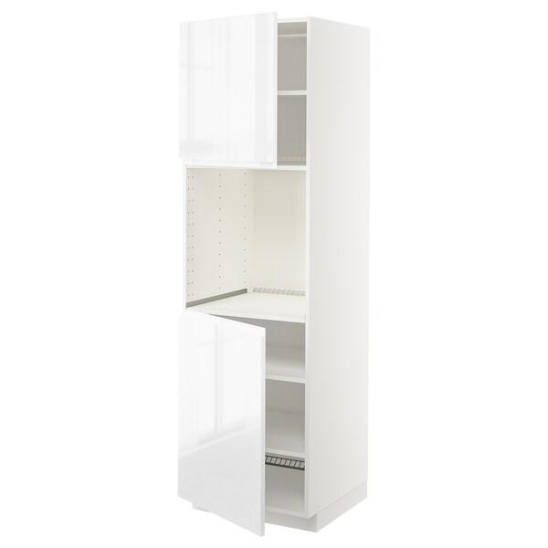 METOD High cab f oven w 2 doors/shelves, white/Voxtorp high-gloss/white, 60x60x200 cm