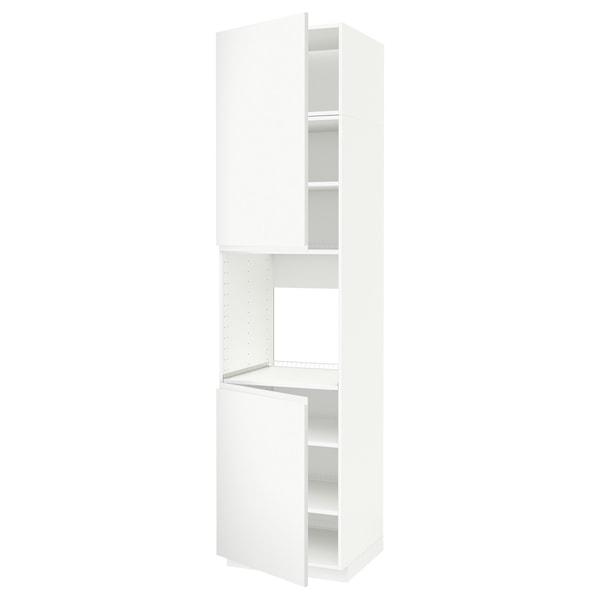 METOD High cab f oven w 2 doors/shelves, white/Voxtorp matt white, 60x60x240 cm