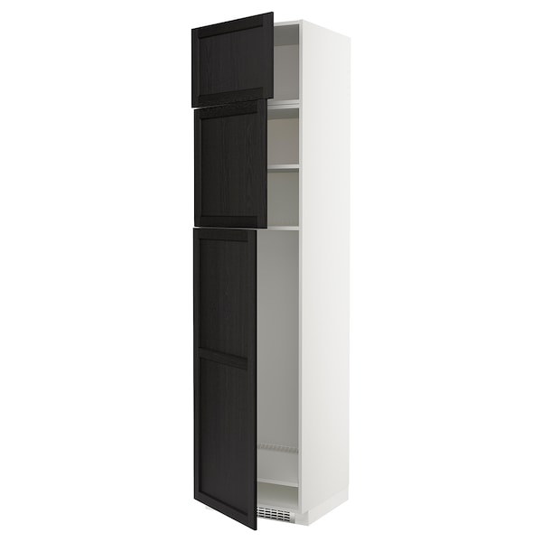 METOD High cab for fridge with 3 doors, white/Lerhyttan black stained, 60x60x240 cm