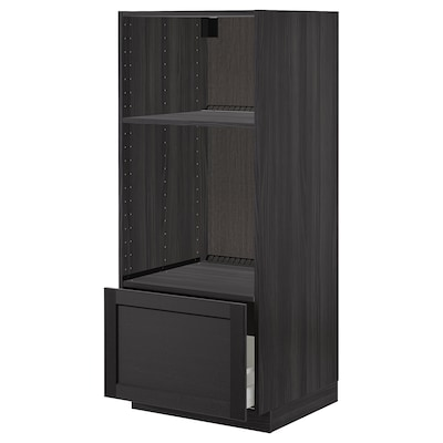 METOD High cab for oven/micro w drawer, black/Lerhyttan black stained, 60x60x140 cm