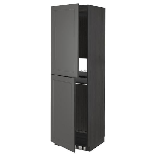 METOD High cabinet for fridge/freezer, black/Axstad dark grey, 60x60x200 cm