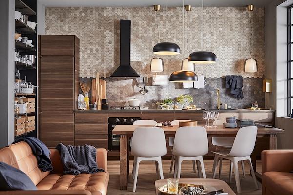 METOD High cabinet for fridge/freezer, black/Voxtorp walnut, 60x60x200 cm
