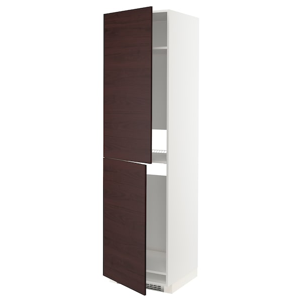 METOD High cabinet for fridge/freezer, white Askersund/dark brown ash effect, 60x60x220 cm