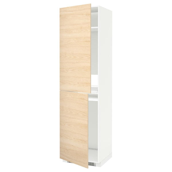METOD High cabinet for fridge/freezer, white/Askersund light ash effect, 60x60x220 cm