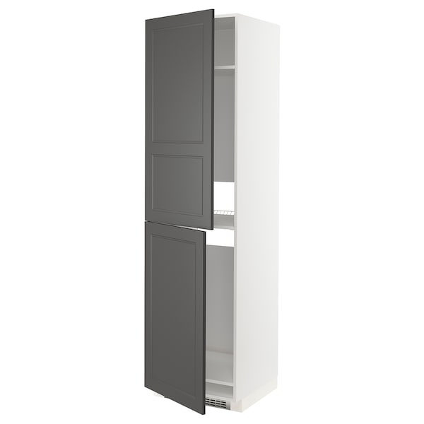 METOD High cabinet for fridge/freezer, white/Axstad dark grey, 60x60x220 cm